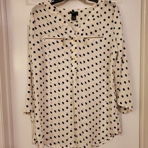 Rue 21 White Polka Dot Blouse XL